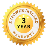 badge of three year extended warranty on electric chargers and installations in Ireland